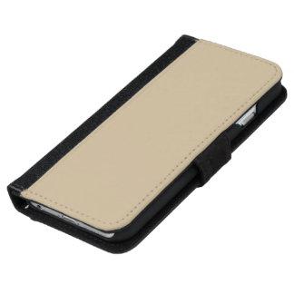 Color sólido del trigo funda cartera para iPhone 6