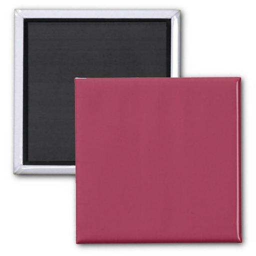 Color sólido rojo de rubíes imán cuadrado