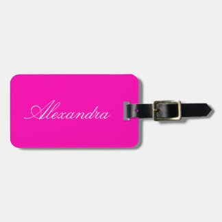 Color sólido rosado de neón etiquetas para maletas