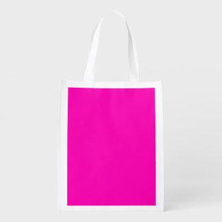 Color sólido rosado de neón bolsas de la compra
