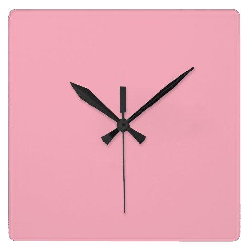 Color sólido rosado del chicle reloj de pared