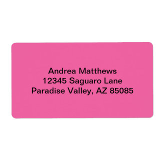 Color sólido rosado del flamenco etiqueta de envío