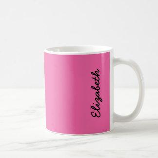 Color sólido rosado del flamenco taza básica blanca