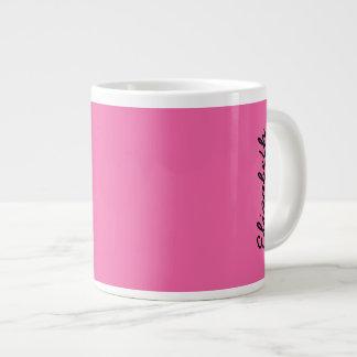 Color sólido rosado del flamenco taza grande