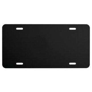 Color sólido simplemente negro placa de matrícula