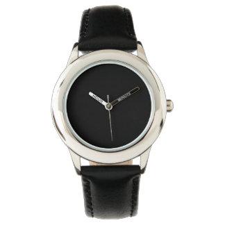 Color sólido simplemente negro relojes de mano