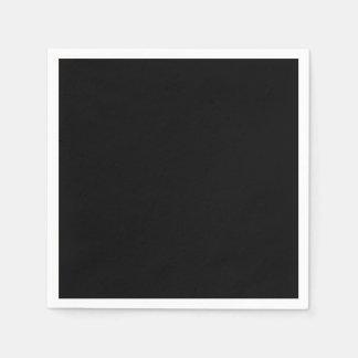 Color sólido simplemente negro servilletas desechables