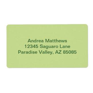 Color sólido verde del apio etiquetas de envío