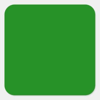 Color sólido verde elegante. Modelo de la Pegatina Cuadrada