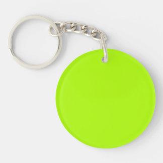 Color sólido verde fluorescente llavero redondo acrílico a doble cara