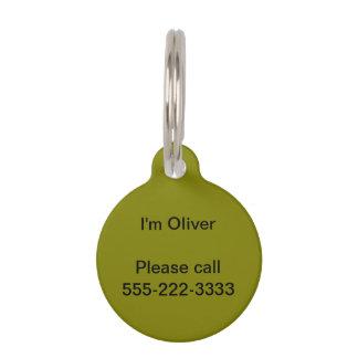 Color sólido verde oliva identificador para mascotas