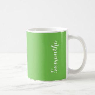 Color sólido vivo brillante de destello verde taza clásica