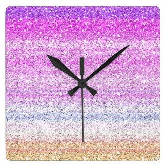 Color Spectrum Sparkle Effect Square Wallclocks
