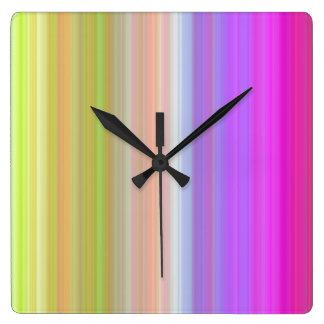 Color Spectrum Stripes Square Wallclock