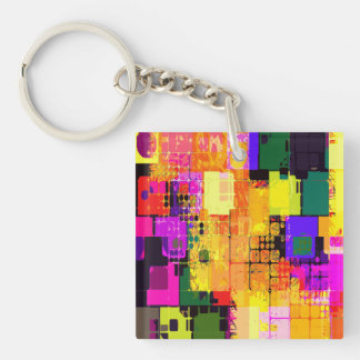 Color Splash Abstract Art Geometric Patterns Keychain