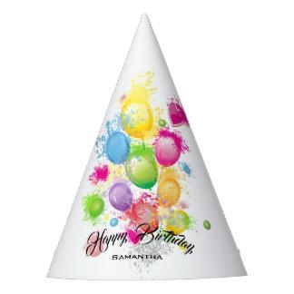 Color Splash Birthday Balloons Party Hat