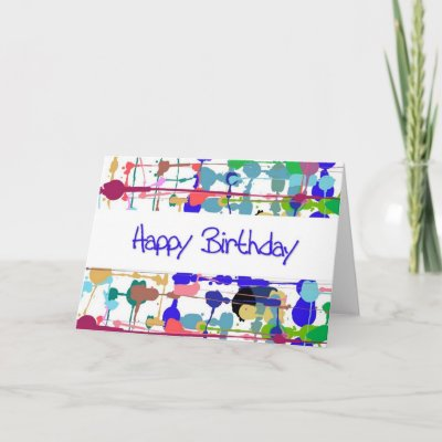 This Color Splash Birthday Card features bright and col
