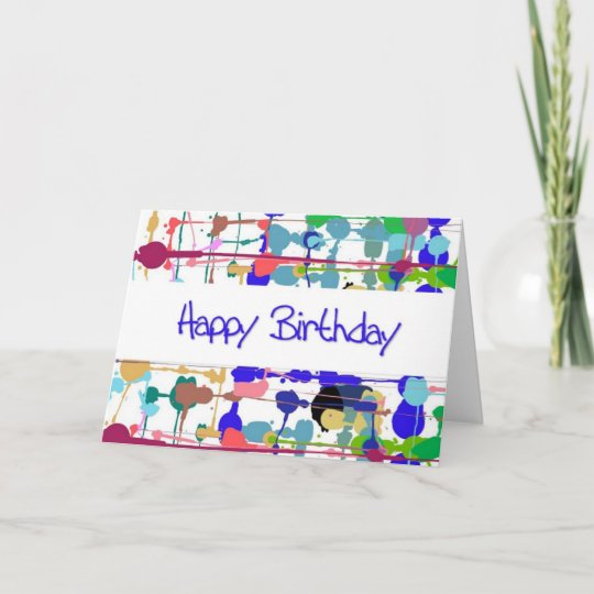 Color Splash Birthday Card Large Print