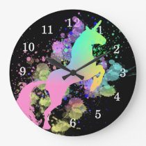 Color Splash Fantasy Rainbow Unicorn Large Clock