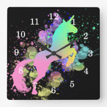 Color Splash Fantasy Rainbow Unicorn Square Wall Clock