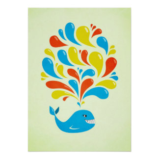 Color Splash Happy Cartoon Whale Poster