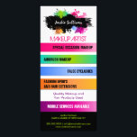 """Color Splash Makeup Artist Promotional Rack Card<br><div class=""""desc"""">&#169; 2014 Socialite Designs. Beautiful, bold and colorful splashes rack card design ready to be personalized by you. Font style and and color can be changed. All design elements can be individually resized, moved or deleted to suit you. Need HELP with customizing? Please do not hesitate to contact Socialite Designs...</div>"""