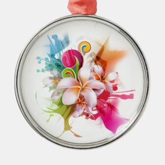 Color Splash Plumeria Hawaiian Flower Metal Ornament