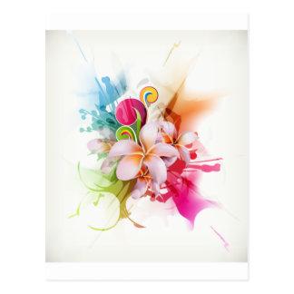Color Splash Plumeria Hawaiian Flower Postcard