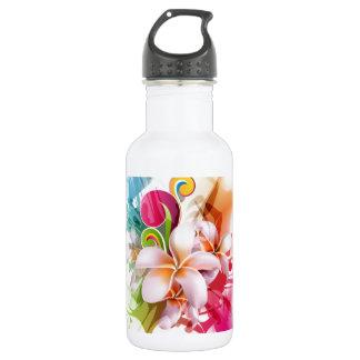 Color Splash Plumeria Hawaiian Flower Water Bottle