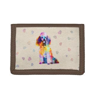 Color splash poodle dog on canvas trifold wallet