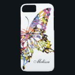 "Color Splashed Butterfly iPhone 8/7 case<br><div class=""desc"">The butterfly is filled with yellow,  pink,  light blue,  lime,  red and black on the white background. This is customizable and a illustration.</div>"