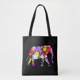 Color Splashed Elephant All Over Print Tote Bag