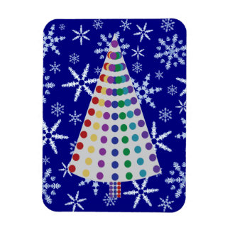 Color Spray Christmas Tree on Snowflake Blizzard Rectangular Photo Magnet