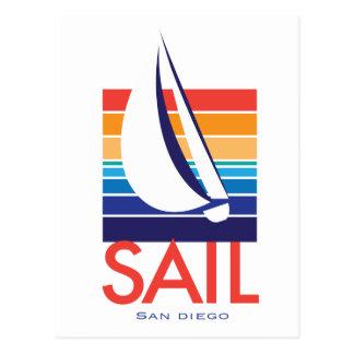 Color Square_SAIL San Diego del barco Tarjeta Postal