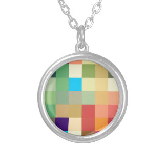 color squares background abstract geometric patter silver plated necklace