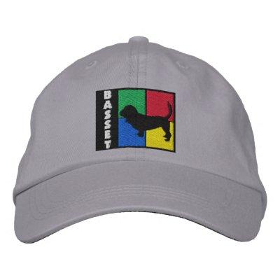 Color Squares Basset Hound Embroidered Hat