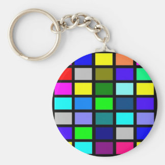 Color Squares on Black Basic Round Button Keychain