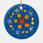 Color Stars and Circles Ceramic Ornament