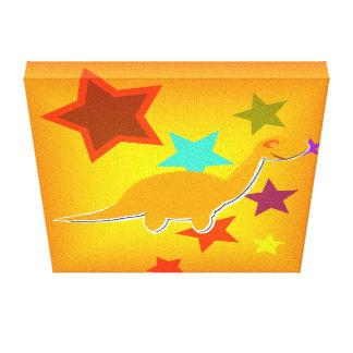 Color Stars Orange Dinosaur Wrapped Canvas