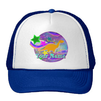 Color Stars & Swirls Cool Dinosaur Cap Trucker Hat