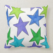 Color Stars Throw Pillow