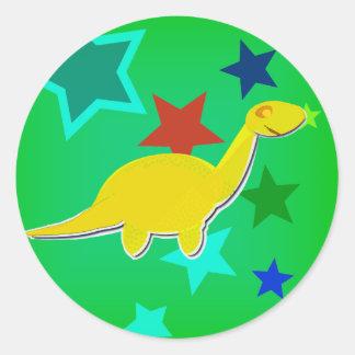 Color Stars Yellow Dinosaur Stickers