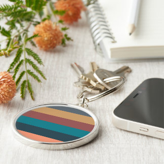 color stripes in colorful pastel Silver-Colored round keychain