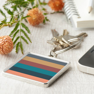 color stripes in colorful pastel Silver-Colored square keychain