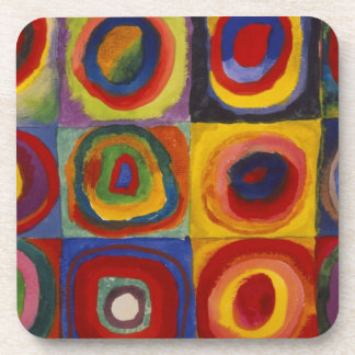 Color Study of Squares Circles Beverage Coaster