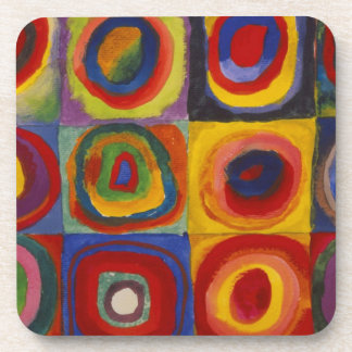 Color Study of Squares Circles by Kandinsky Drink Coaster