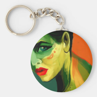 Color Study Painted Beauty Portrait Basic Round Button Keychain