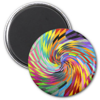 Color Swirl Checkered Psychedelic Mandala Magnet
