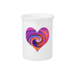 Color Swirl Heart Design Pitcher