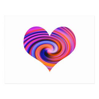 Color Swirl Heart Design Postcard